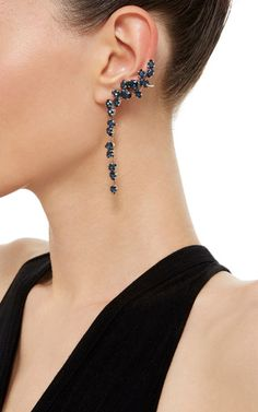 Oxidized Silver Plated Swarovski Crystal Drop Ear Cuff with Stud  by Ryan Storer