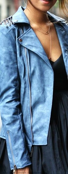Street style - colored leather jacket