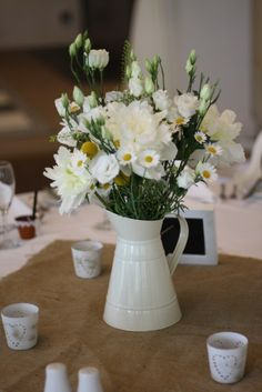Pop the bouquets in milk jugs for the top table flowers. Would look pretty and keeps them somewhere safe :)