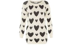 New Look- Cameo Rose Monochrome Heart Fluffy Jumper. I love this one so much!