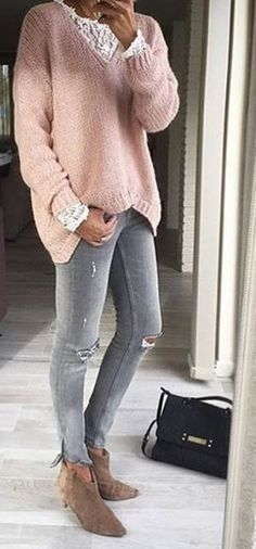 #thanksgiving #fashion · Pink Knit // Destroyed Skinny Jeans // Suede Ankle Boots #anklebootsoutfit