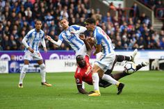 Romelu Lukaku of Manchester United misses a chance during the Premier League match between Huddersfield Town and Manchester United at John Smith's...