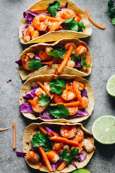 Healthy Sriracha Lime Shrimp Tacos! So yummy and perfect for an easy weeknight dinner. Gluten free and only take 30 minutes to make!