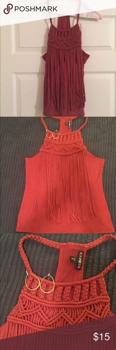 Express Fringe Tank NWOT Burnt orange x-small cotton tank. Rope straps with woven detail and fringe in front. Plain back. New without tags. Perfect condition 😊 Express Tops Tank Tops