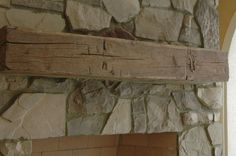 hand hewn mantels | Hand Hewn Barn Beam Mantles. See how the colors contrast slightly but still blend?