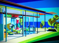 Mid Century Modern Architecture, Montauk House, Original Painting, 18x24x.75 inch canvas, gouache paints, Mid Century Modern Artwork
