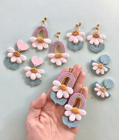 Polymer Clay Celestial Foil Peach Spring Pink Pastel Marble Star Studs