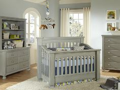 Baby Nursery, Grey And Blue Crib Bedding By Pine Creek On Baby's Dream Furniture Dresser Grey Nursery Furniture, Baby Furniture Sets, Dream Furniture, Baby Nursery Decor, Baby Decor, Nursery Ideas, Nautical Nursery, Kids Furniture, Nursery Grey