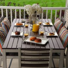 Dining outdoors is something that everyone enjoys. Take your meals al fresco with the Elan Furniture Loft 72 x 36 in. Outdoor Dining Set, Outdoor Rooms, Outdoor Decor, Deck Furniture, Outdoor Furniture Sets, Contemporary Furniture, Dining Chairs, Patio Dining, Loft