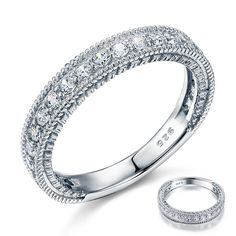 Vintage Style Simulated Diamond Contour 925 Sterling Silver Ring