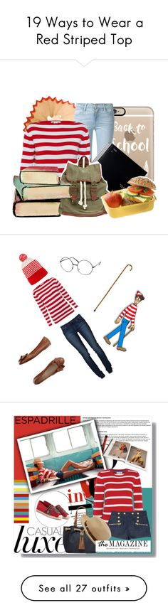 """""""19 Ways to Wear a Red Striped Top"""" by polyvore-editorial ❤ liked on Polyvore featuring waystowear, redstripedtop, Casetify, Frame Denim, Wet Seal, BackToSchool, casual, school, books and Gucci"""