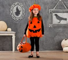 Toddler Pumpkin Costume | Pottery Barn Kids Toddler Pumpkin Costume, Pumpkin Halloween Costume, Classic Halloween Costumes, Halloween Pumpkins, Halloween Baby Photos, Halloween Kids, Halloween Projects, Halloween Party, Diy Projects