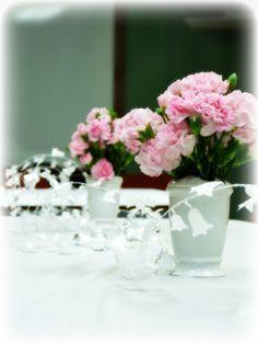It's An Office Bridal Shower!  Table Top for Bridal Shower #Carnations #BridalShower #OfficeBridalShower www.multicareinc.com