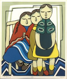 Daphne Odjig  Canadian (b. 1919)  with granny  serigraph  signed, titled, date '82, and numbered 106/125  21 x 18 in. (53.3 x 45.7 cm)  Estimate $ 400-600 Maynards Industries - Fine Art & Antiques Auction: May 6 2015 11:00 AM  www.maynardsfineart.com