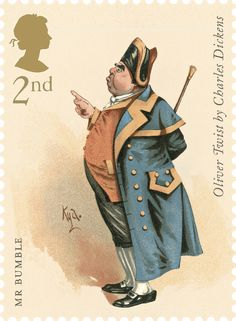 Charles Dickens commemorative stamps for Royal Mail with illustrations by Joseph Clayton Clarke: Class, Mr Bumble from Oliver Twist Royal Mail Stamps, Uk Stamps, Commemorative Stamps, Postage Stamp Art, Oliver Twist, Classic Literature, Classic Books, Stamp Collecting, Mail Art