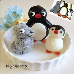 ピングーおにぎり。This is the most adorable thing I've seen in my life, I love Pingu so much.