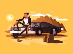 Tough guy near car by Anton Fritsler (kit8) #Design Popular #Dribbble #shots