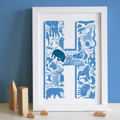 Blue Letter Christening Print by LucyLovesThis on Etsy