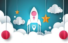 Download wallpapers startup, origami rocket, paper figures, rocket launch, startup concepts