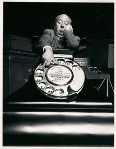 Promotional photograph of Alfred Hitchcock for his 1954 film, Dial M for Murder. Alfred Hitchcock, Hitchcock Film, Disney Marvel, Old Movies, Great Movies, Vintage Movies, Classic Hollywood, Old Hollywood, Hollywood Glamour