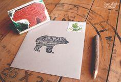 Ours rustiques retournent adresse timbre par PaperStreetPress