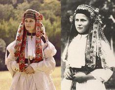 Brides from Bošáca, Považie region, Western Slovakia Popular Costumes, Bridal Headdress, Costumes Around The World, Central And Eastern Europe, Folk Costume, My Heritage, Traditional Dresses, Drake, Folk Art