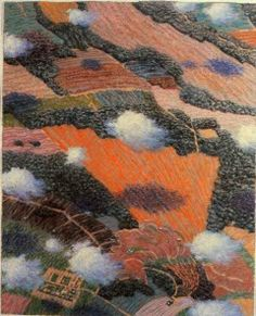Yvonne Jacquette (American, born Midwestern Springtime with Clouds II, pastel (photo: Phil) Contemporary Landscape, Landscape Art, Landscape Paintings, Landscapes, Modern Landscaping, Aerial View, Spring Time, Colored Pencils, Painting & Drawing