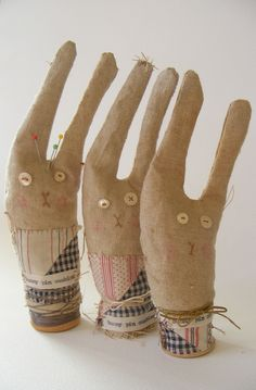prim bunny pin cushions | by hens teeth