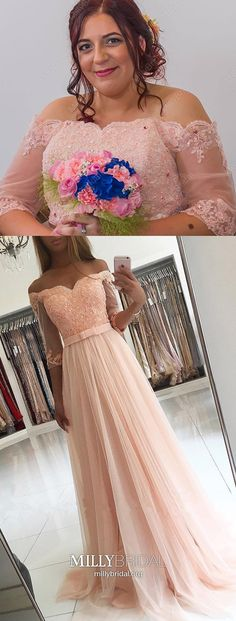 Pink Prom Dresses Long, A-Line Formal Evening Dresses With Sleeves, Lace Military Ball Dresses For Teens, 2019 Tulle Pageant Graduation Party Dresses Off The Shoulder Prom Dresses Long Pink, Formal Dresses With Sleeves, High Low Prom Dresses, Prom Dresses For Teens, A Line Prom Dresses, Tulle Prom Dress, Prom Dresses Online, Cheap Prom Dresses, Formal Evening Dresses