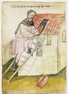 Illustration of a Roofer, Fritz - From the House Books of the Nuremberg Twelve Brothers Foundation, records of a charitable foundation started in the city of Nuremberg in 1388. The foundation would take 12 poor and needy people and provide them with training in a trade. Starting around 1425 their books would contain one-page illustration of the people they had helped, usually giving their name and what profession they were in. - Nuremburg, Germany - c. 1425-1450