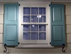 Dusty teal shutters with beige exterior House Colors, House Designs Exterior, Shutters Exterior, House Design, Cool House Designs, House Shutters, Window Shutters, Windows Exterior, House Exterior