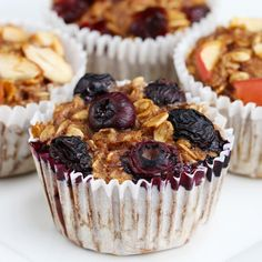 These Bite-Sized Banana Oatmeal Muffins Are Perfect For Snack Time // veganize this Muffin Recipes, Breakfast Recipes, Dessert Recipes, Breakfast Ideas, Low Carb Vegetarian Recipes, Cooking Recipes, Pasta Recipes, Banana Oatmeal Muffins, Oatmeal Cups