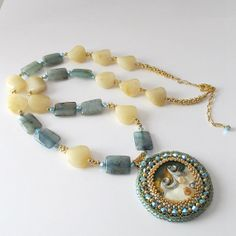 Beaded lampwork cabochon necklace by PacificJewelryDesign on Etsy, $140.00