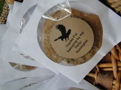 Birds of Prey Party- paper CD holders with a wrapped cookie inside and an eagle thank you sticker printed at home 9th Birthday Parties, 7th Birthday, Birthday Ideas, Raptor Center, Edible Favors, Bird Party, Eagle Scout, Thank You Stickers, Birds Of Prey