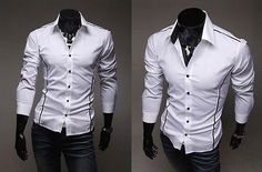 """Every man will love this selection of stylish formal dress shirts. It comes in a slim fit design to give all men a """"hunky"""" image they've all wanted! Features: - Available in black, white and gray colo Cheap Mens Fashion, Big Men Fashion, Mens Fashion Blog, Fashion Guide, Fashion Boots, Fall Fashion, Mens Style Guide, Men Style Tips, Long Sleeve Fitted Dress"""