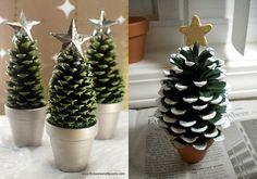 manualidades de árbol de navidad con piñas