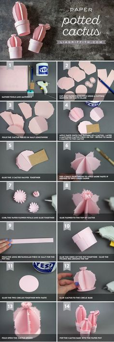 Kaktus aus Papier to make origami flowers Potted Paper Cactus - Lia Griffith Diy Origami, Origami Paper, Oragami, 3d Origami Tutorial, Origami Flower, 3d Tutorial, Flower Tutorial, Paper Pot, Diy Paper