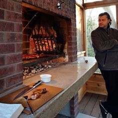 Indoor Grill Design Ideas, Pictures, Remodel and Decor Built In Braai, Built In Grill, Outdoor Oven, Outdoor Cooking, Outdoor Barbeque, Brick Fireplace, Fireplace Design, Fireplace Ideas, Bbq Grill