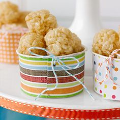 Simple Bake Sale Treats: Mini Rice Treats Kids love this bite-size version of the classic snack. You can also display these treats in clear jars decorated with ribbons and stickers.