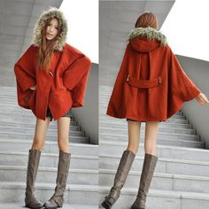 Free shipping red bat hood cloak wool coat cape thicken plus size loose fur collar trench women fashion overcoat outerwear $55.10