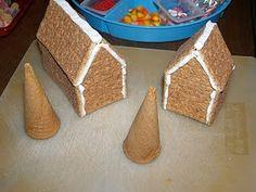 graham cracker gingerbread houses & ice cream cone trees
