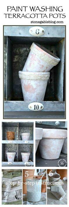 AGING TERRACOTTA POTS-Beautiful realistic looking whitewash. Easy!-stonegableblog.com