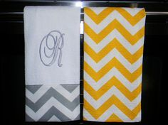 Monogrammed Kitchen Towels or Hand Towels in Yellow / Grey Chevron