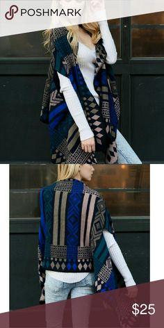 "Geometric Pattern Ruana Poncho 100% Acrylic Dimension 72""x25"" Accessories Scarves & Wraps"