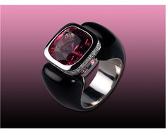 """Hans Brumann Jewels. Ring in 18k white gold with carabao horn set with 1 pink tourmaline 4.50 ct. and 28 brilliant cut diamonds 0.32 ct. F-G color vvs-vs"""""""