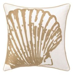 Beautifully done neutral pillows for the beach! Embroidered tan scallop shell on white canvas pillow with pretty rope trim