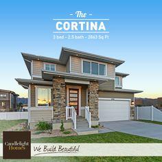 We love this contemporary Cortina plan in our East Riverwalk community! #candlelighthomes #utahhomes #utahbuilder #newhomesutah #webuildbeautiful #homedecor #exterior #contemporary #home #utah