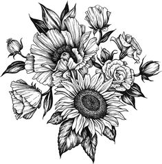 black and grey tattoos for women flowers thighs ~ black and grey tattoos thigh + black and grey tattoos for women thighs + black and grey tattoos for women flowers thighs Flower Thigh Tattoos, Sunflower Tattoos, Flower Tattoos On Shoulder, Sunflower Tattoo Shoulder, Flower Tattoo Drawings, Female Thigh Tattoos, Shoulder Cover Up Tattoos, Chest Tattoo Female Upper, Dahlia Flower Tattoos
