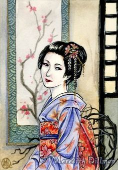 Maiko ACEO art card print, Geisha kimono girl.