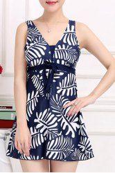 Stylish V-Neck Bowknot Embellished Printed One-Piece Swimsuit For Women